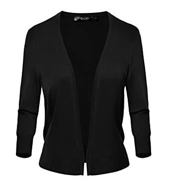 a7628e2946bd Women s Classic Open Front Sweater 3 4 Sleeve Cardigan at Amazon ...