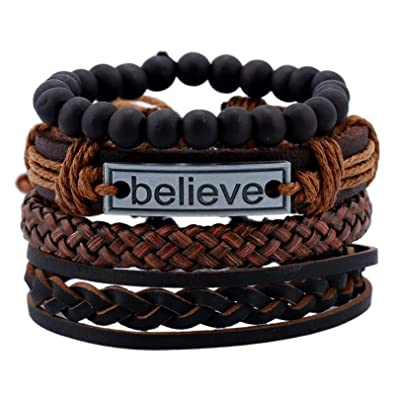 Jewelry & Accessories Chain & Link Bracelets 2018 Fashion Alloy Black Stone Leather Hand Rope Men Trendy Bracelet