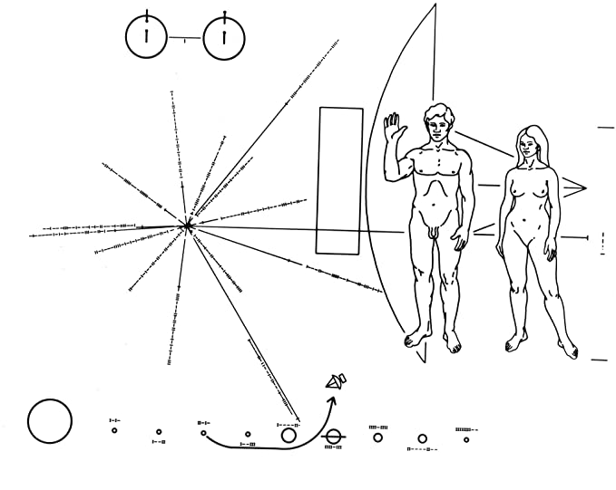 Poster A3 Nasa Pioneer F Plaque Symbology The Pioneer F Spacecraft