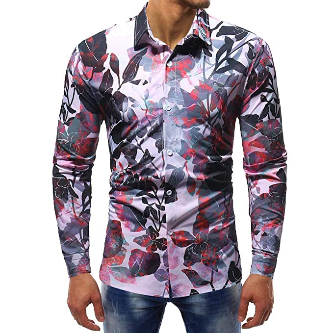 727e6346a728 Amazon.com: Orangeskycn Men Casual Dress Shirts Regular Fit Long Sleeve  Button Down Cotton Printed Shirt 2019: Clothing