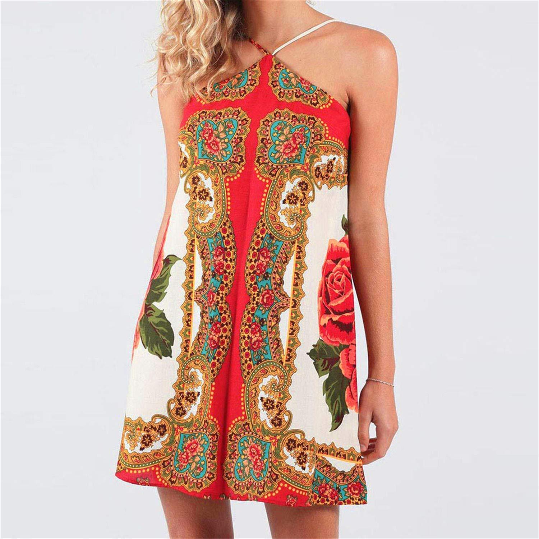 6ecfc08f93 Amazon.com: miqiqism Women Sexy Halter Neck Mini Dresses Fashion Summer  Boho Floral Print Sleeveless Backless A-Line Cami Tank Sun Dress: Clothing