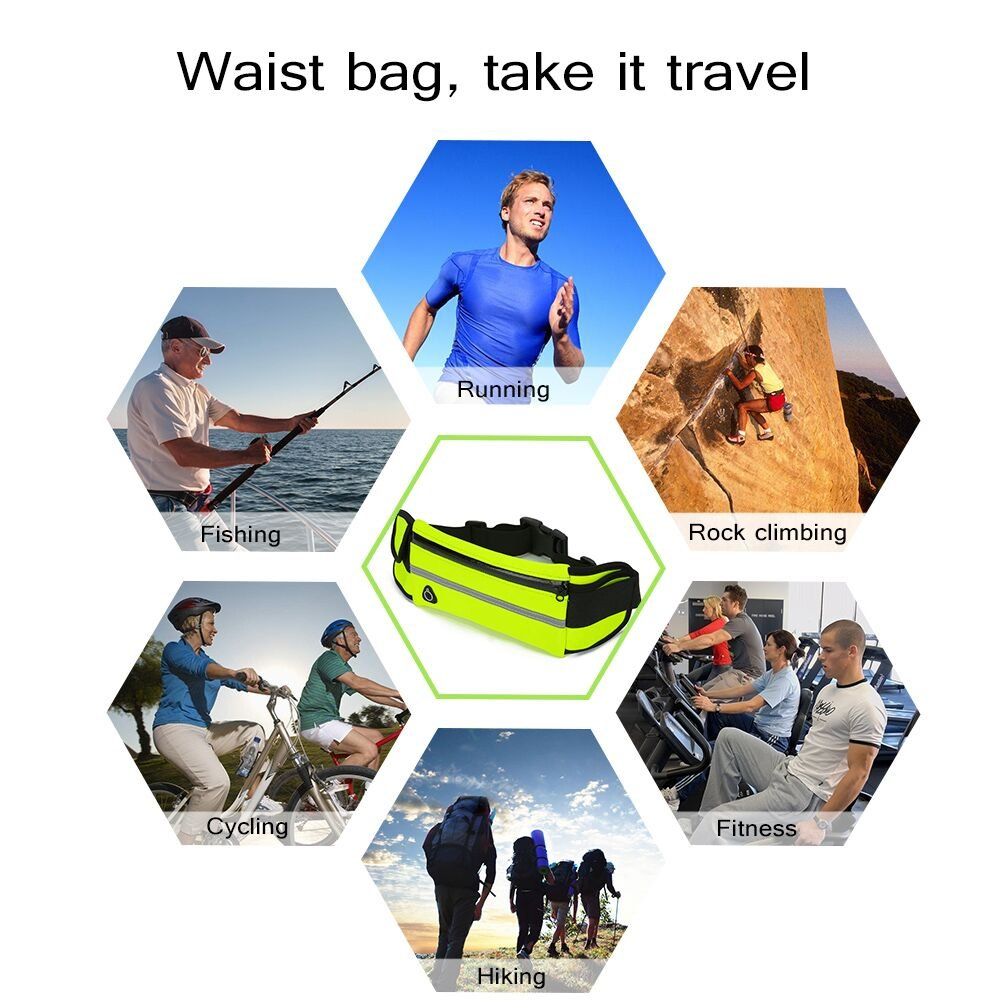 Running Belt Waist Pack Water Resistant Waist Bag Sports Fanny Pack with Adjustable Belt for Phone Men Women Running Hiking Cycling Travel Workout.
