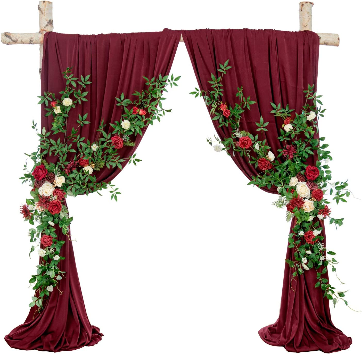 Ling's moment Artificial Arch Flower Swag with Fabric Drape for Red and White Winter Wedding Aobor Floral Decoration
