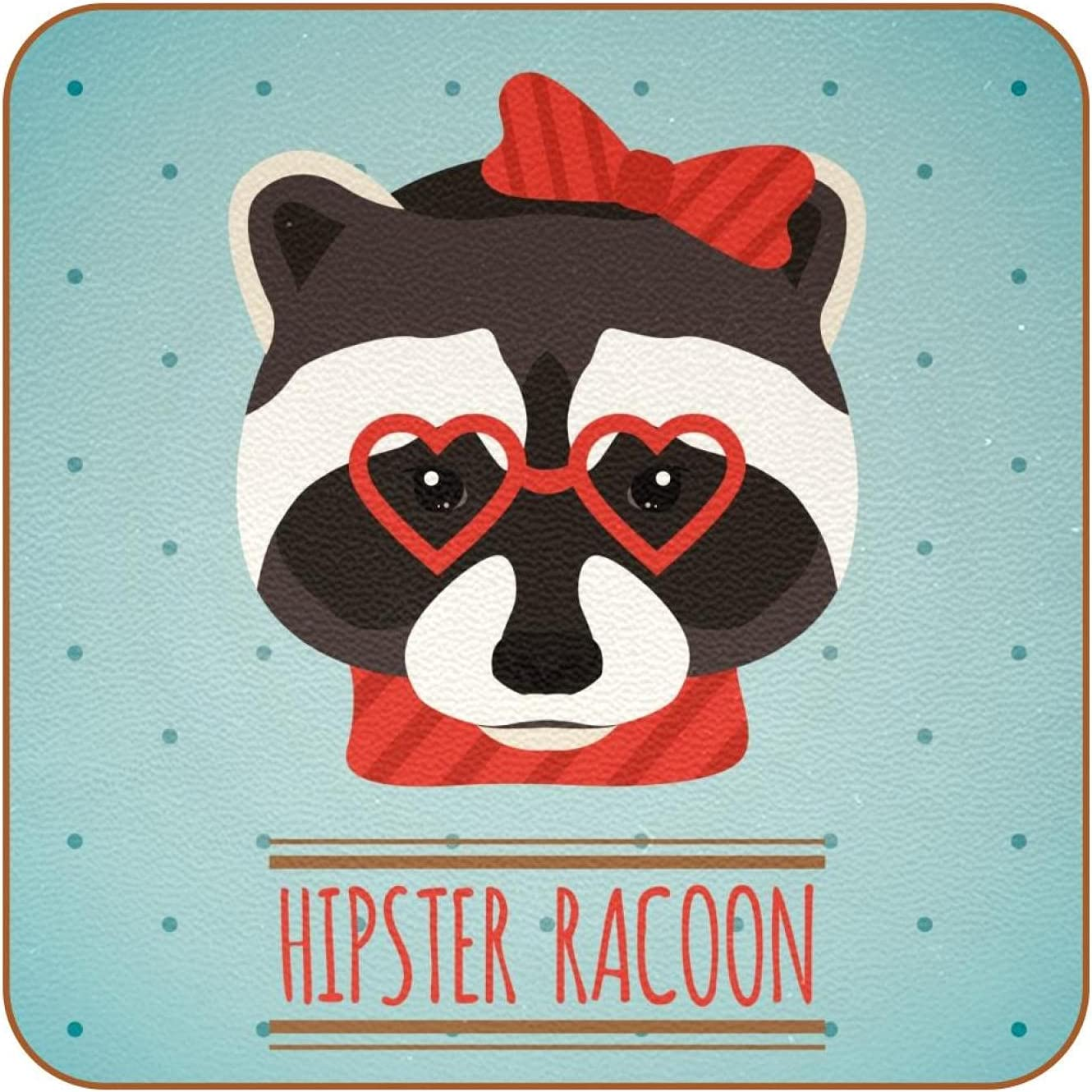 Coasters for Drinks Hipster Raccoon Love Glasses Leather Square Mug Cup Pad Mat for Protect Furniture, Heat Resistant, Kitchen Bar Decor, Set of 6