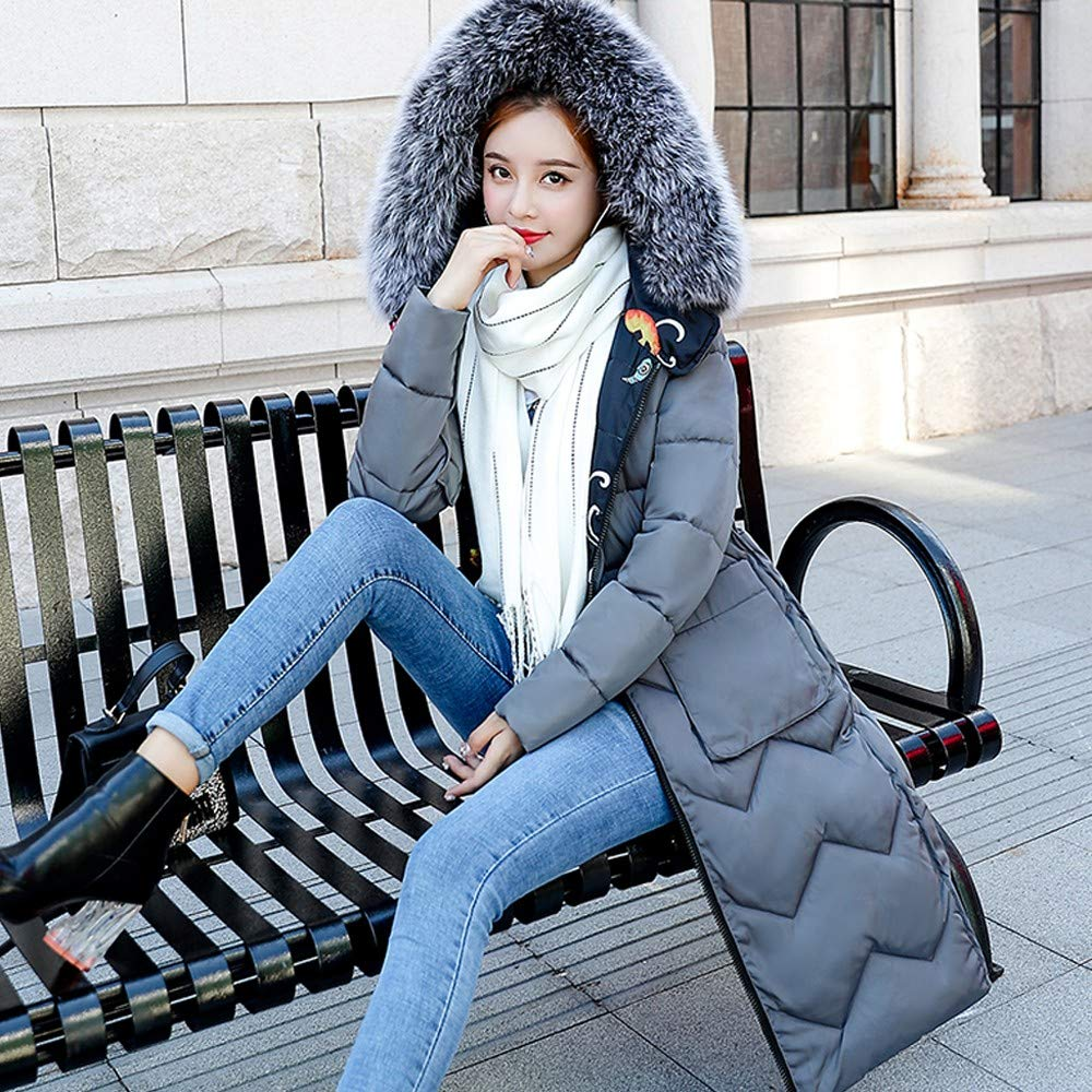 NUWFOR Womens Trim Hooded Warm Coats Parkas with Faux Fur Jackets for Winter(Gray,3XL) by NUWFOR (Image #4)