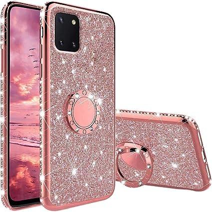 Coque pour Samsung Galaxy Note 10 Lite / A81, Glitter Diamant Sparkle Housse Étui avec 360° Bague Béquille Stand Support Voiture Magnetique Protection ...