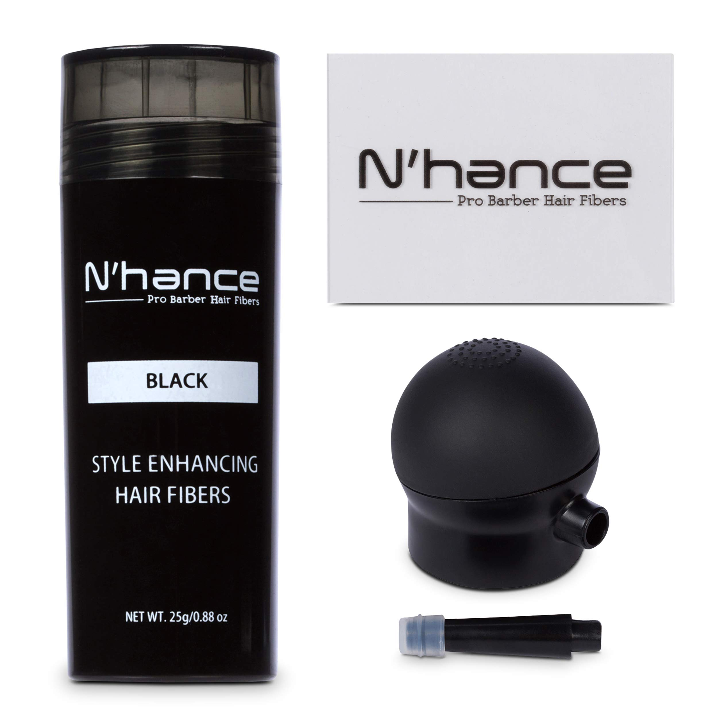 N'Hance Pro Barber Hair Fibers, Applicator + Applicator Card (Black)