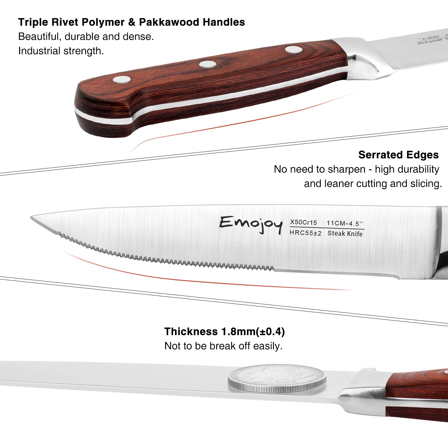 Steak knives, Emojoy Steak knife set, Stainless Steel Steak Knives Serrated, German Stainless Steel with Highly Resistant and Durable Pakkawood Handle (Steak Knives Set of 8) by Emojoy (Image #3)