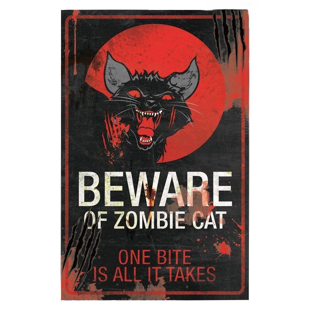 Beware Of Zombie Cat Metal Halloween Wall Sign (43x28cm) Nemesis Now
