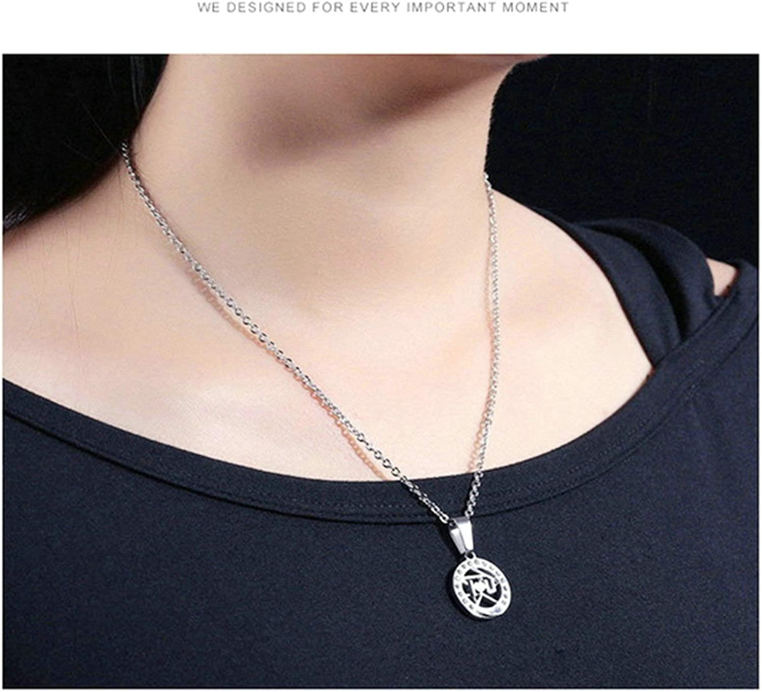 Aooaz Necklace Set Stainless Steel Unique Wedding Necklace Cubic Zirconia Moon and Sun Necklace Set for Couples