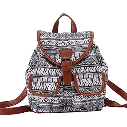 ERWAA Lona Bolso Backpack Mochilas Escolares Mochila Escolar Casual Bolsa Viaje Moda Estilo de la Señora Mujer