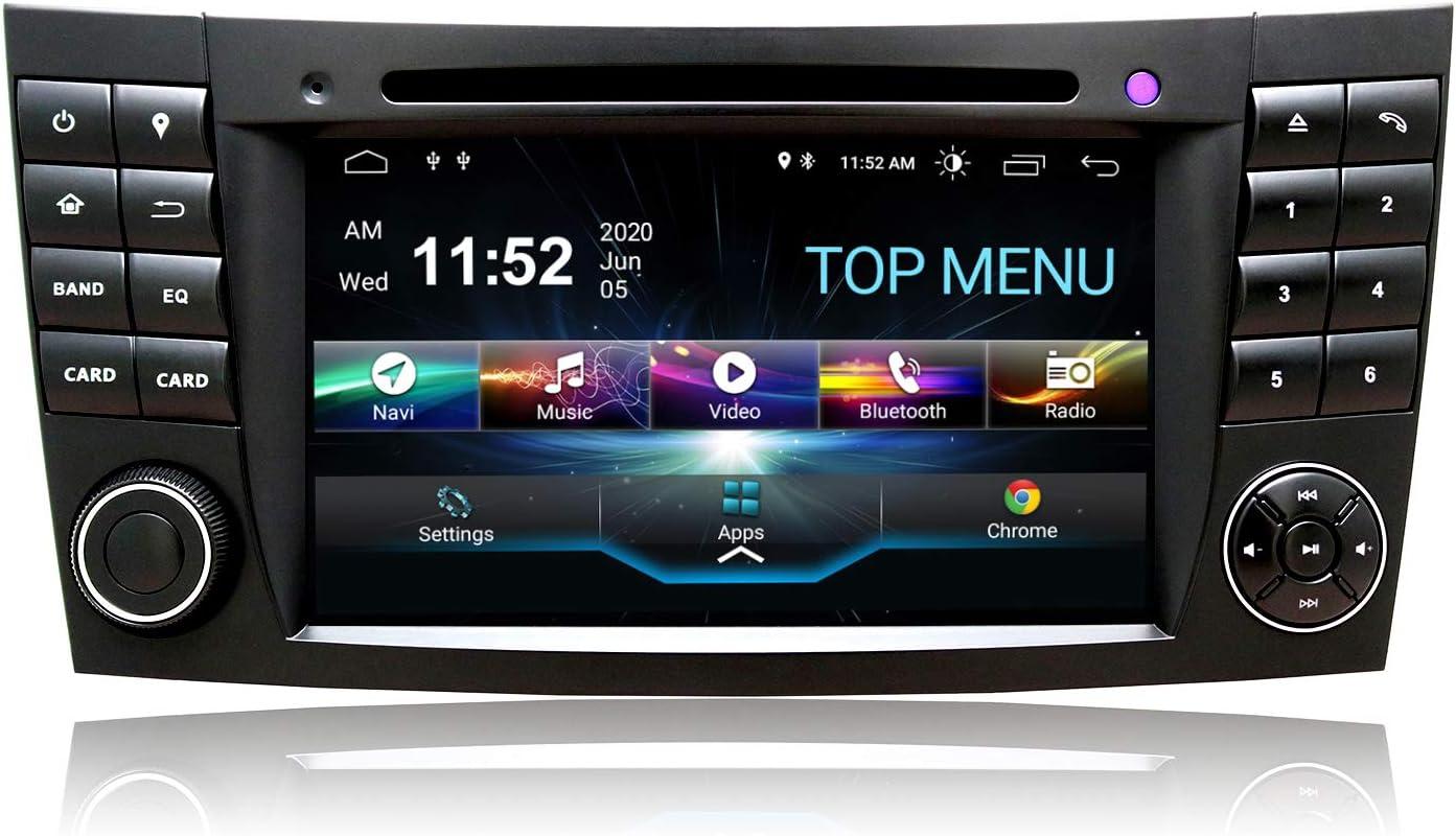 SWTNVIN Android 10.0 Unidad de Audio estéreo para Coche Compatible con Mercedes Benz Clase E W211 CLS W219 Reproductor de DVD Radio de 7 Pulgadas Pantalla táctil HD navegación GPS de 2 GB + 80 GB