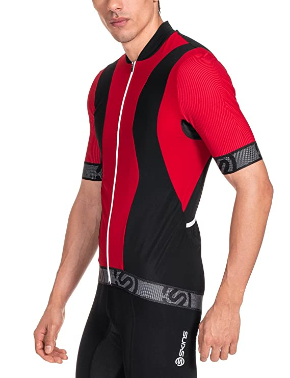 Skins Men s Cycle Jersey Short Sleeve Tremola Multi-Coloured Red Black    White Size M  Amazon.co.uk  Sports   Outdoors 5acda99f5