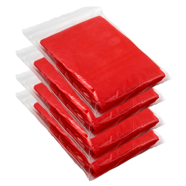 Giftsbynet Lot de 4 ponchos de pluie d'urgence pour les festivals, le camping et les vacances Taille adulte, Red