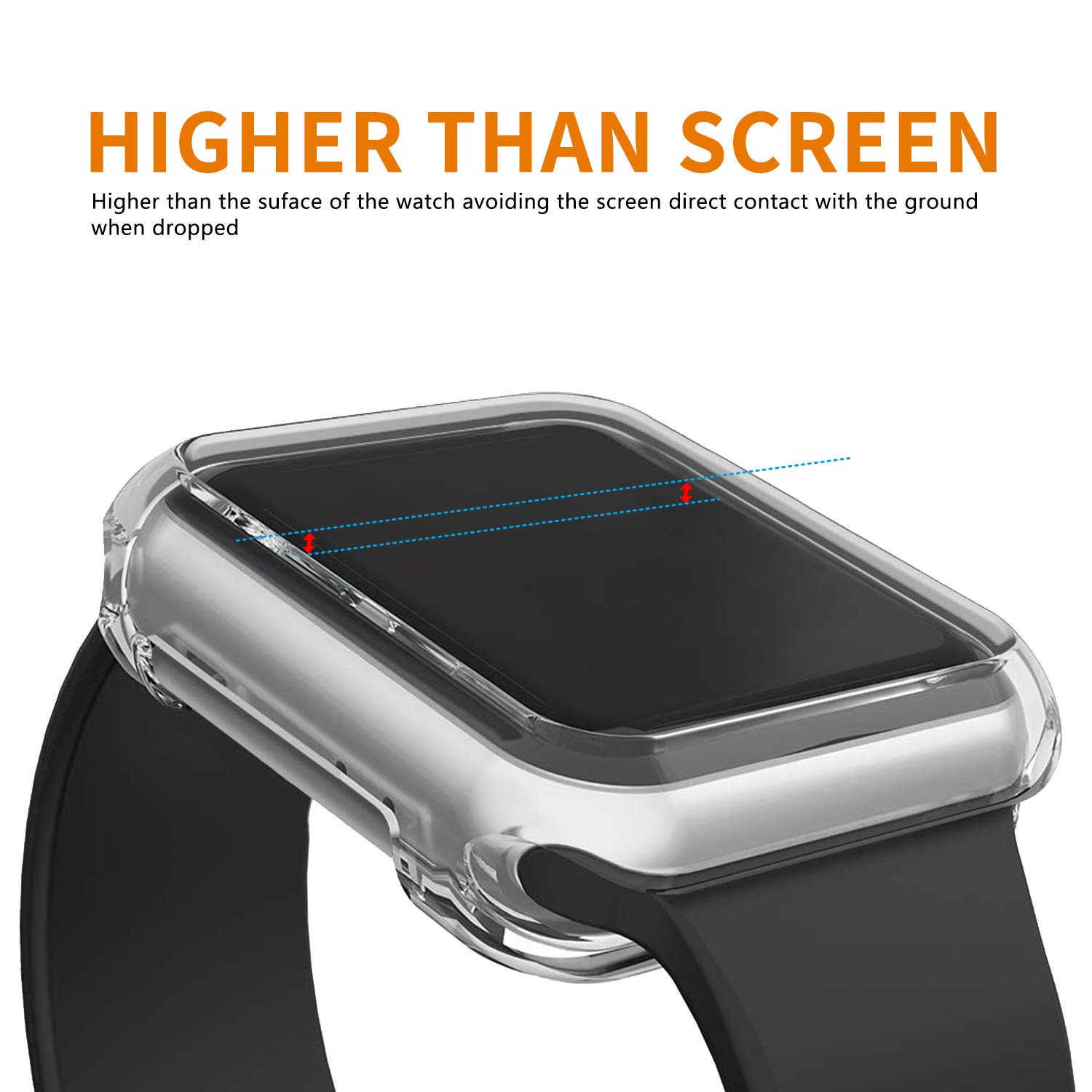 VODKE Compatible with Apple Watch Case Series 4 44mm, Soft TPU Watch Bumper Case Cover Protector Compatible with iWatch Series 4 by VODKE (Image #4)