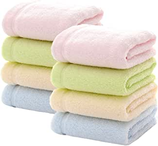 """MUKIN Bamboo Baby Washcloths - Perfect for Face Towels, Bath, Hands,Suit for Newborn Sensitive Skin. Ultra Soft & Absorbent wash Cloths for Baby Girls or Boys. (8 Pack 13""""x13"""")"""