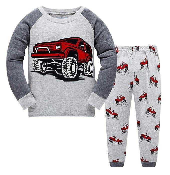 GSVIBK Pijamas para Niños Pijama de Manga Larga para Niños Conjunto de Ropa de Dormir de