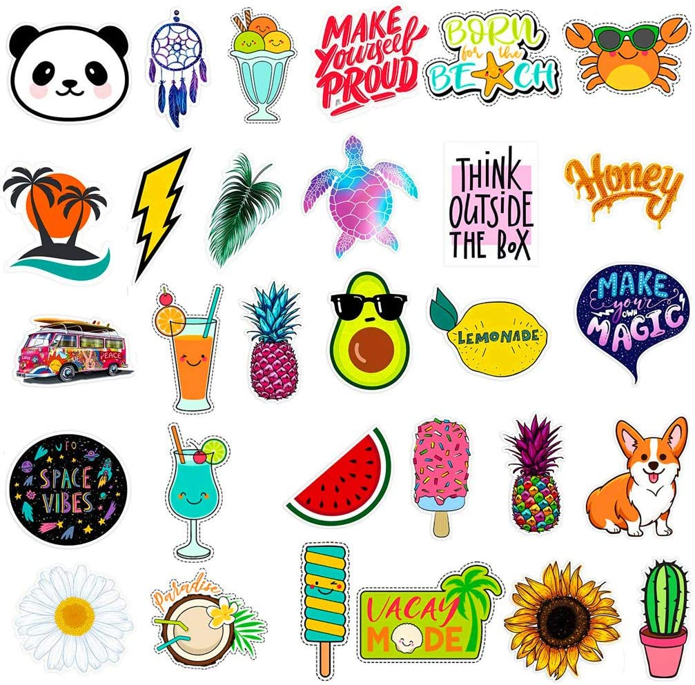 Stickers for Water Bottles Big 30-Pack Cute, Waterproof, Trendy Stickers for Teens, Girls Perfect for Waterbottle, Laptop, Phone, Travel, Extra Durable (Multicolor)