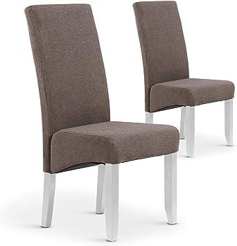 Menzzo Lot de 2 chaises Paris Tissu Taupe, 63x47x108 cm