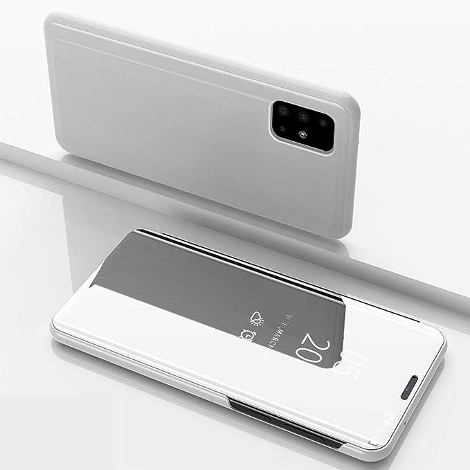 Case For Samsung Galaxy A51 Smart Mirror Cover Sleep Flip Leather Case Streamer Mirror Protective Shell Protective Cover For Samsung Galaxy A51 Silver Amazon Co Uk Electronics