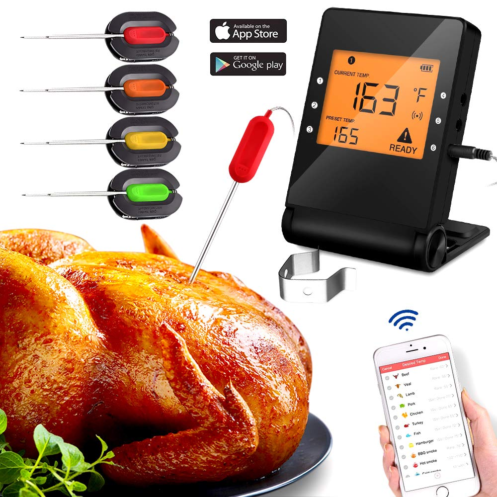 Meat Thermometer, Wireless Bluetooth Digital Thermometer with 4 Probe for Indoor Outdoor Oven Smoker BBQ Thermometer Control Supports IOS and Android Phone Monitoring