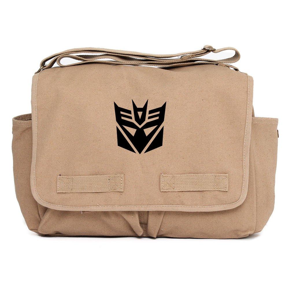 Decepticon Transformers Logo Army Heavyweight Messenger Shoulder Bag Black on Mocha Canvas