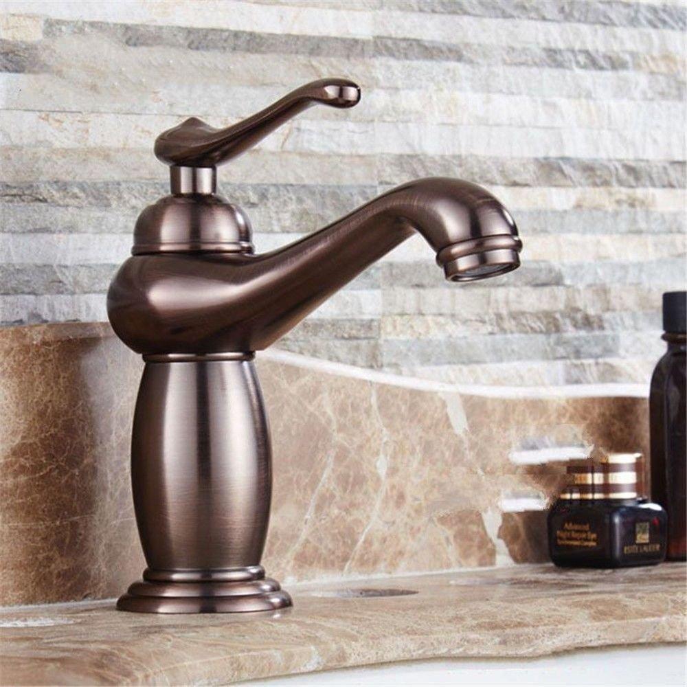 MEIBATH Waschtischarmatur Badezimmer Waschbecken Wasserhahn Küchenarmaturen Öl eingerieben Bronze Retro Messing mit einem Hebel 1 Loch Keramik Ventil Warmes und kaltes Wasser Küchen Wasserhahn Badarmatur
