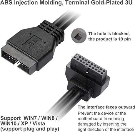 USB3.0 Motherboard Front 19 Pin Male to Female Extension Cable 18cm High-Speed Connection MZHOU SATA USB Extension Cable The Interface Faces Inward
