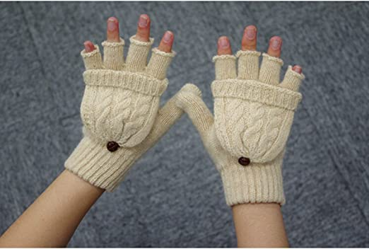 Womens Winter Gloves Warm Wool Knitted Convertible Fingerless Gloves with Mittens Cover Cap