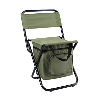 Foldable Camping Chair with Cooler Bag Compact Fishing Stool: Sports & Outdoors