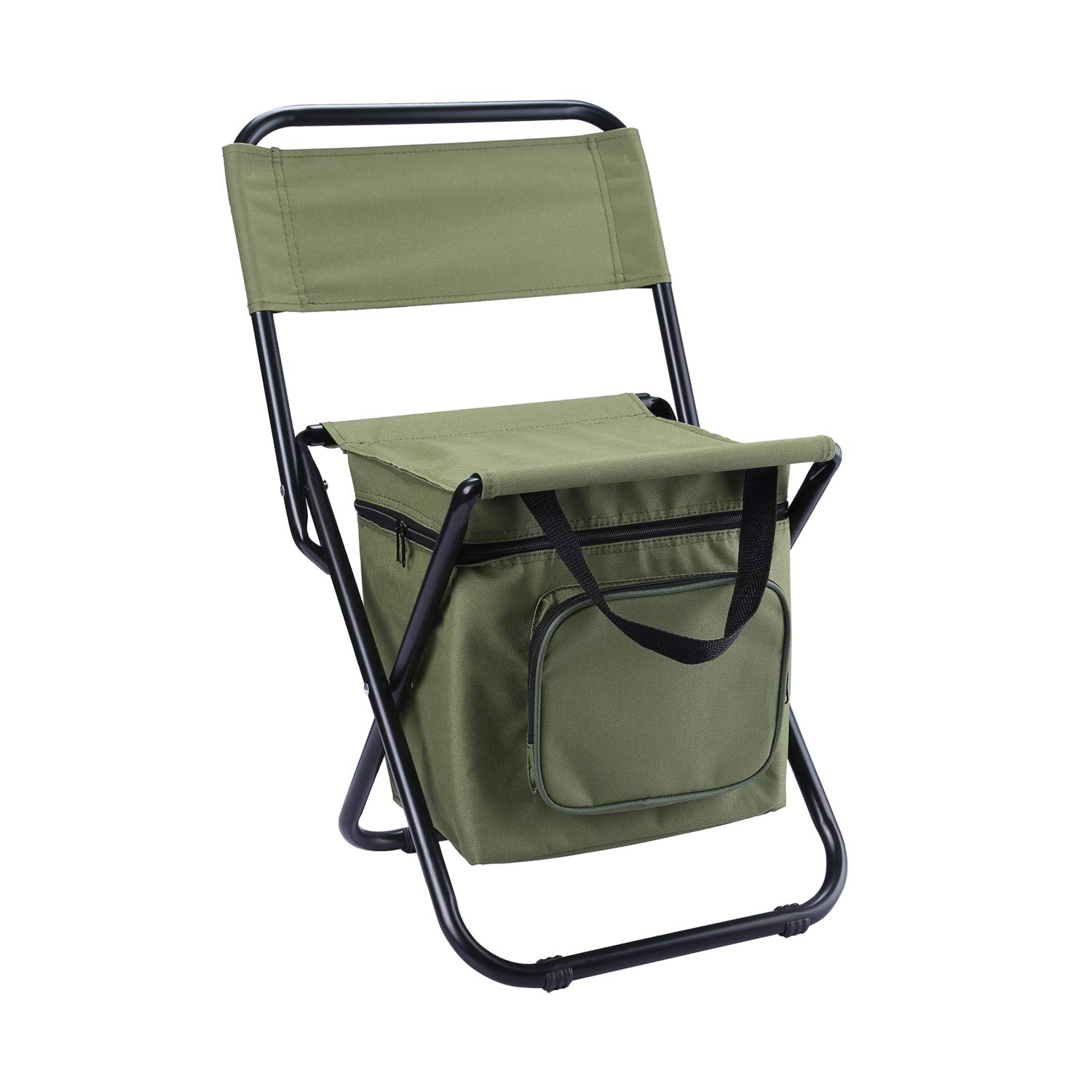 LEADALLWAY Foldable Camping Chair with Cooler Bag Compact Fishing Stool