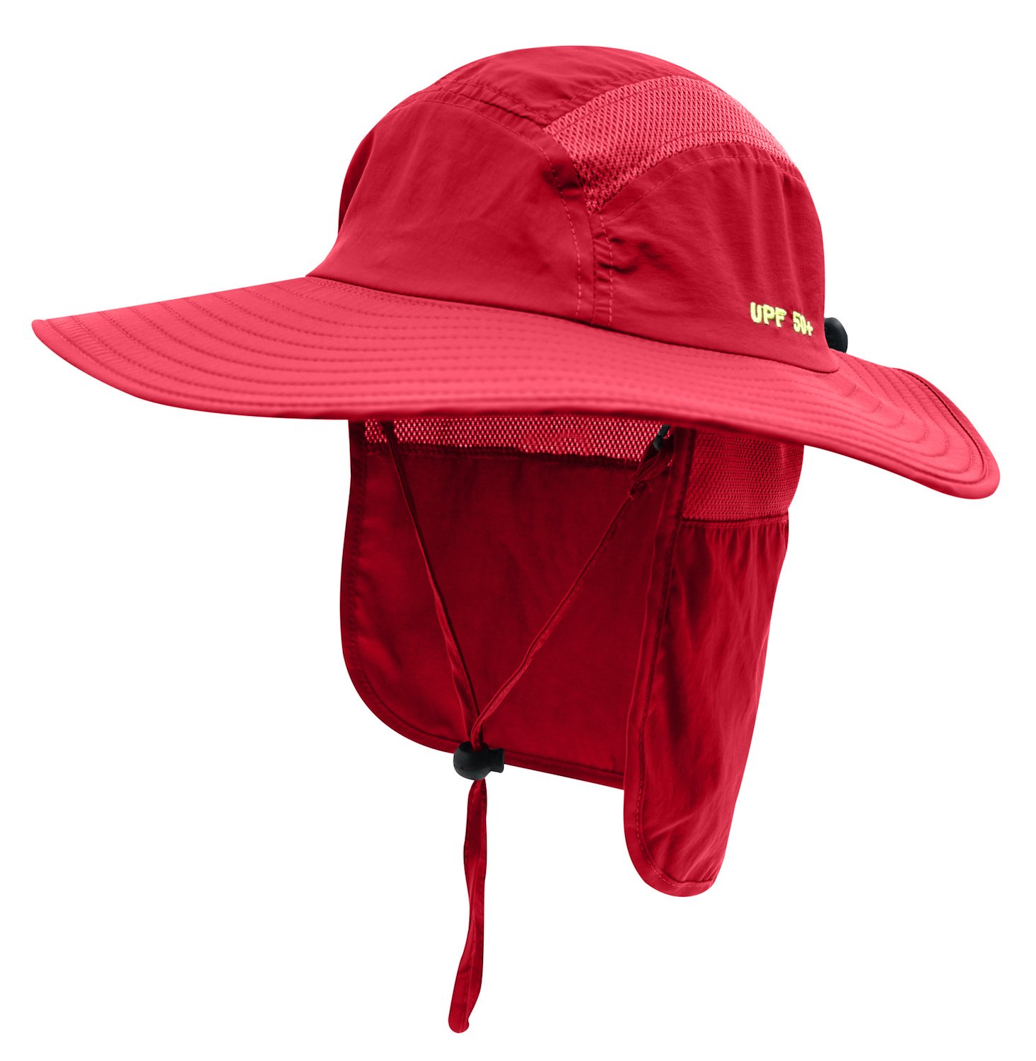 Home Prefer Adult UPF 50+ Sun Protection Cap Wide Brim Fishing Hat with Neck Flap Red