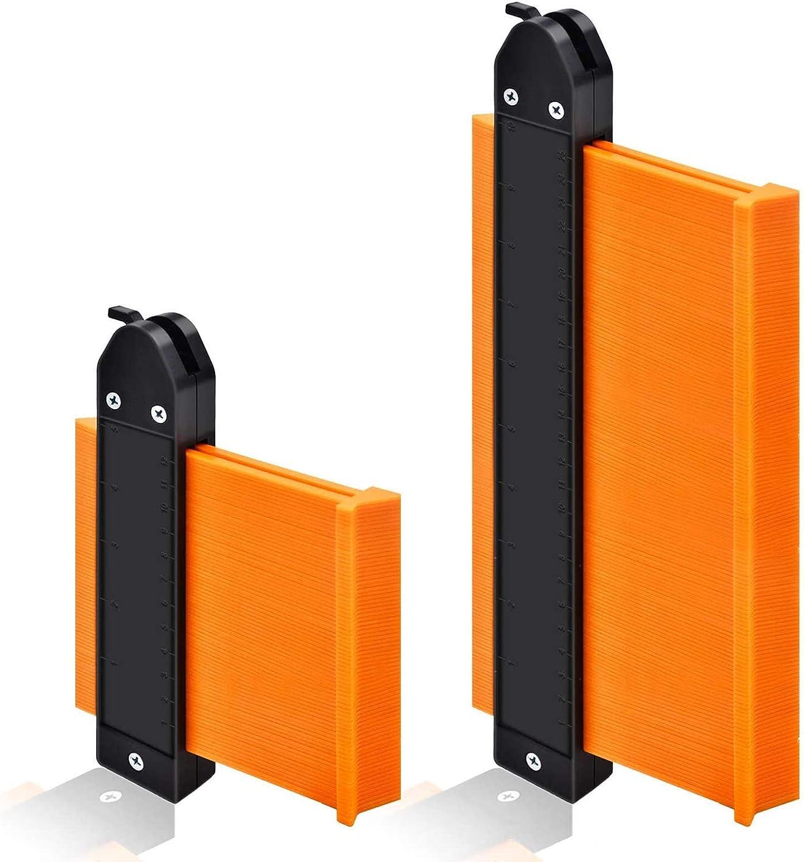 "Contour Gauge Duplicator with Lock, GOXAWEE Widen Shape Duplication Gauge Tool 5""& 10"", 2 Pack Master Outline Measuring Plastic Ruler for Corners, Woodworking Templates, Tiles and Laminate (Orange) - -"
