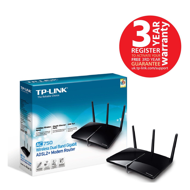 TP-LINK Archer D2 AC750 Wireless Dual Band Gigabit ADSL2+ Modem ...