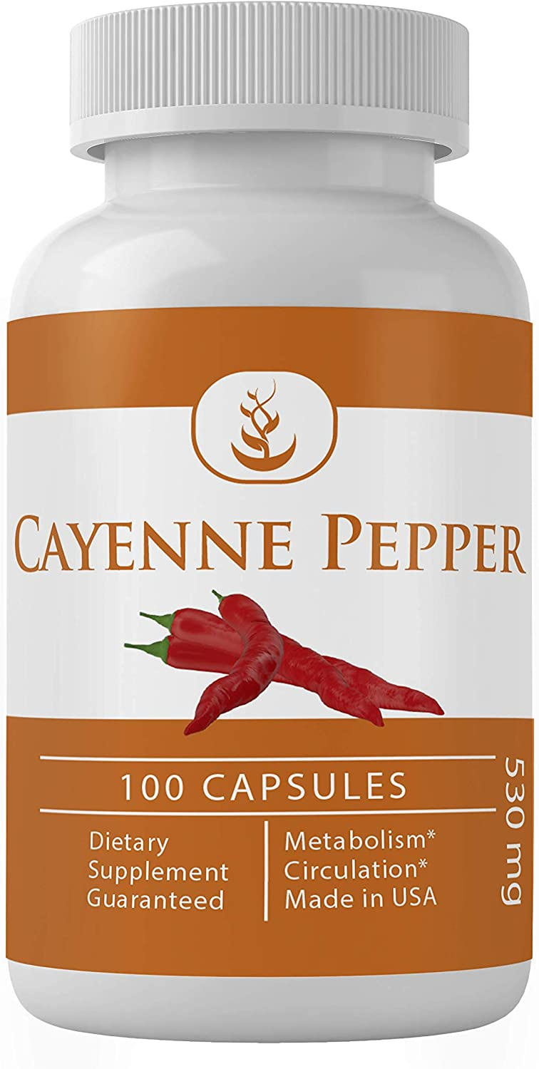 Cayenne Pepper (100 Capsules, 530 mg Serving) 100% Pure & Natural, No Magnesium Stearate or Rice Flour Fillers, Made in US, Non-GMO, Gluten-Free, Lab-Tested Quality, Circulation Support, Heart Health*
