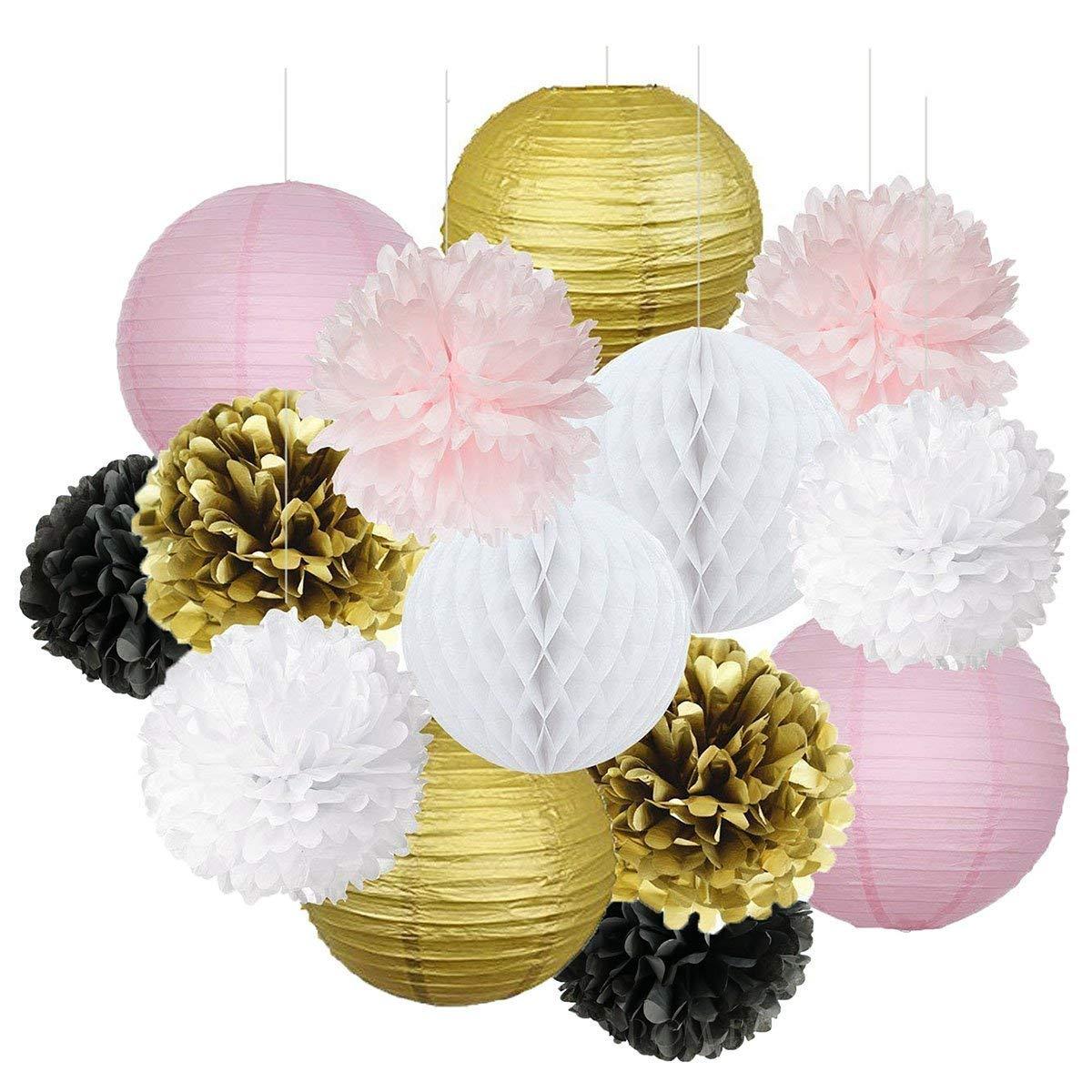 Idee per feste di compleanno francesi / parigini Oro rosa Bianco Nero Parigi Decorazioni per feste Carta velina Pom Pom a nido d'ape Palla / Lanterna di carta per decorazioni di compleanno per ragazze Ooh La La Baby Decorazioni per la doccia HappyField