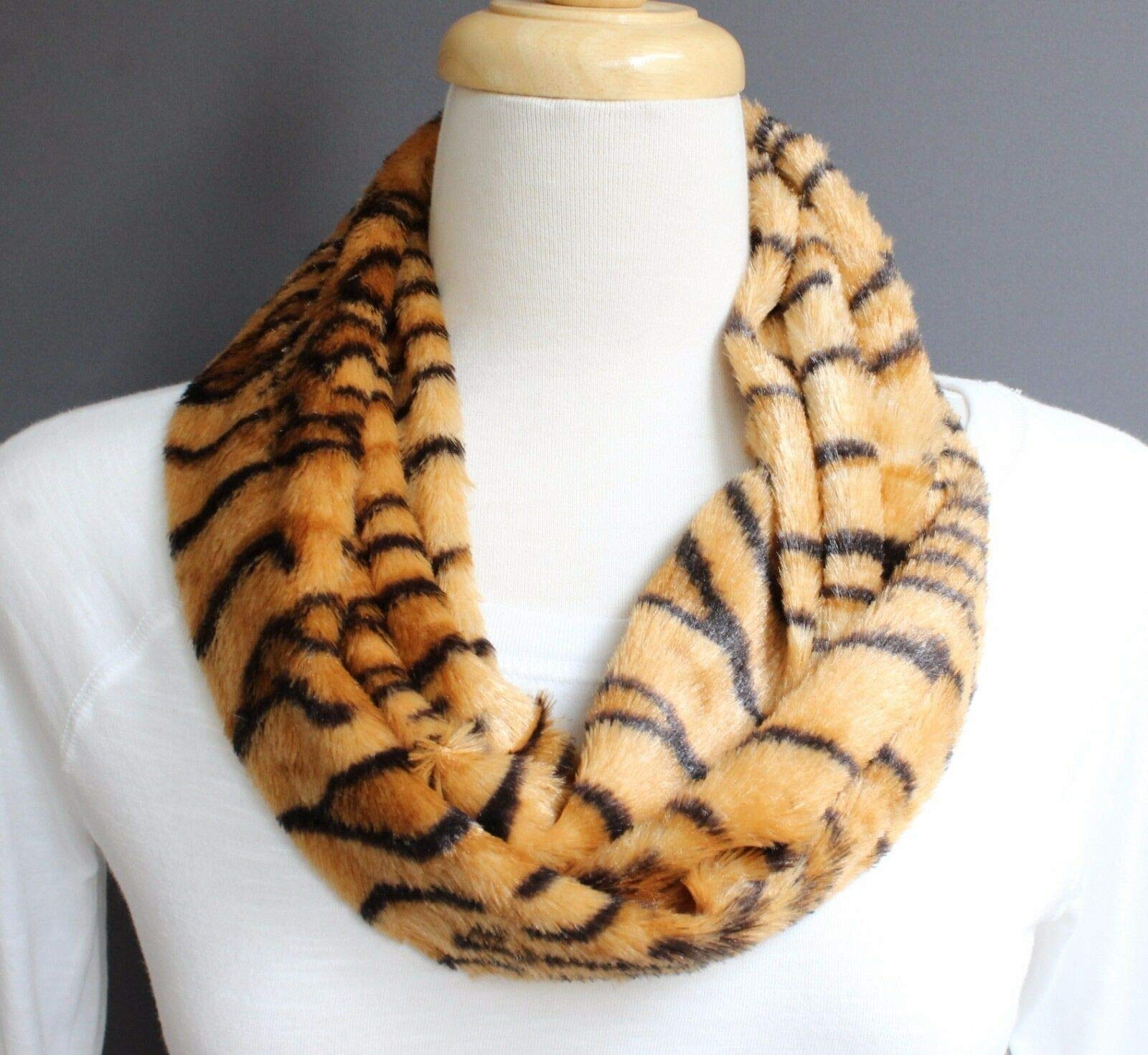 Brown Black tiger stripe faux fur circle infinity endless loop long scarf R-2799 by RIX Women's Luxury
