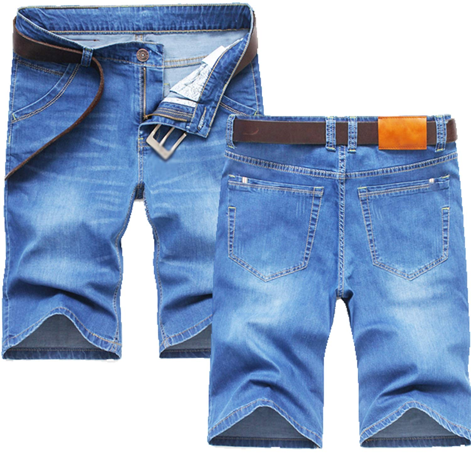 Men Casual Short Jeans Slim Knee Length Casual Business Shorts Jeans Stretch Cotton Fabric No Belt Jeans