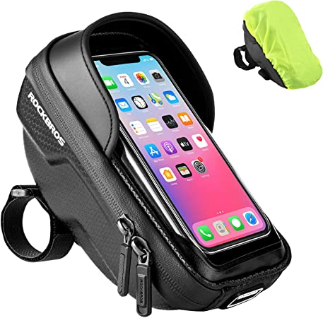 """ROCKBROS Bike Phone Bag EVA Handlebar Bag Bicycle Front Frame Bags Waterproof Bike Phone Mount Holder Case Cycling Accessories Storage Pouch Compatible with iPhone 11 XS Max XR Below 6.5"""""""