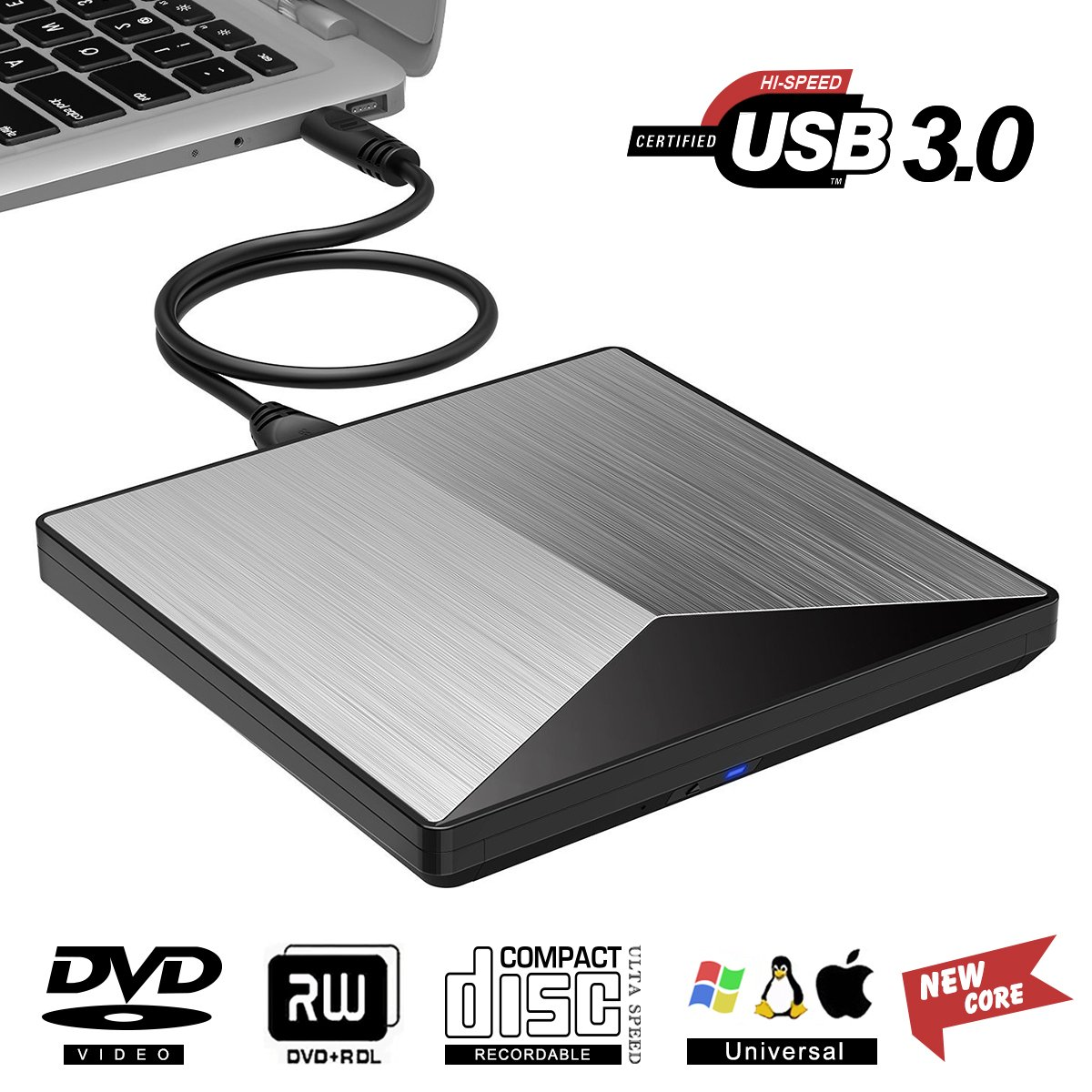 Cocopa Ghagsj External DVD Drive Kilineo USB 3.0 CD Burner Reader 100% New Core External Optical Drives Black