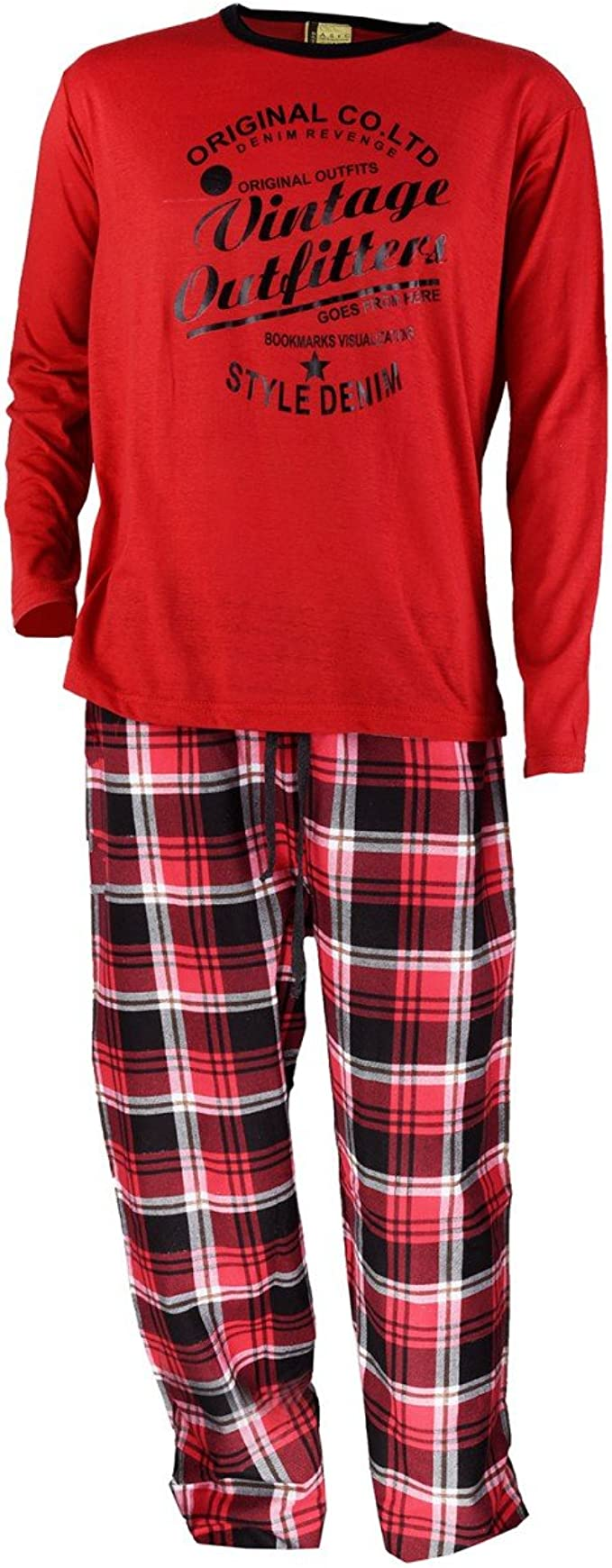 Pijama de franela para hombre, color rojo