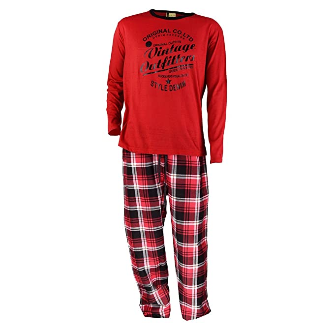 Pijama de franela para hombre, color rojo rojo L