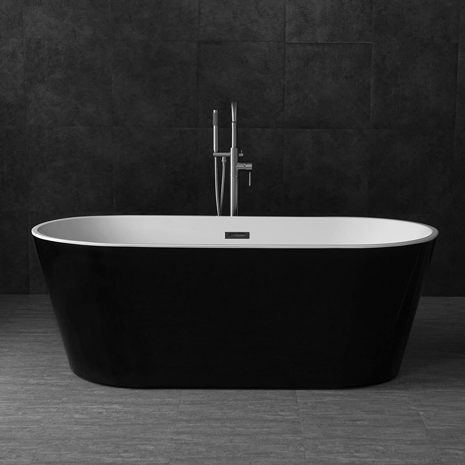 Woodbridge Acrylic Freestanding Bathtub Contemporary Soaking Tub With Brushed Nickel Overflow And Drain Color 67 B 1813 Black