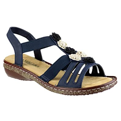 girls Amblers Ladies Belice Slip On Open Toe Summer Sandal Navy PU