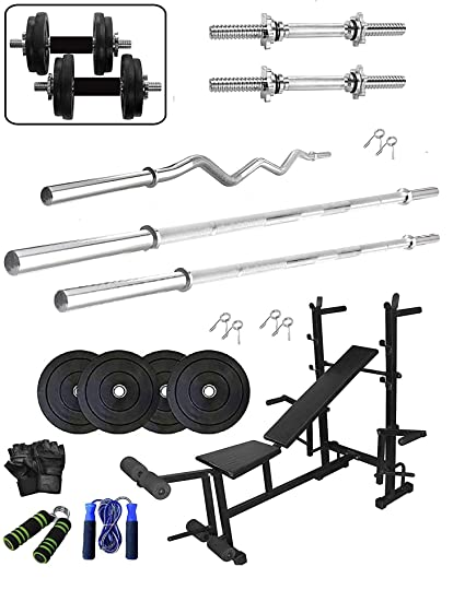 JMB Home Gym Combo , Gym equipments , Home gym set , Rubber weight Plates  (40 KG) 8 in