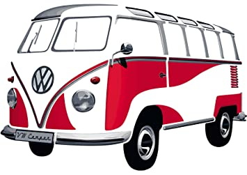 T1 Muraux Vw Collection Rouge Brisa Combi Sticker lF1TKJc