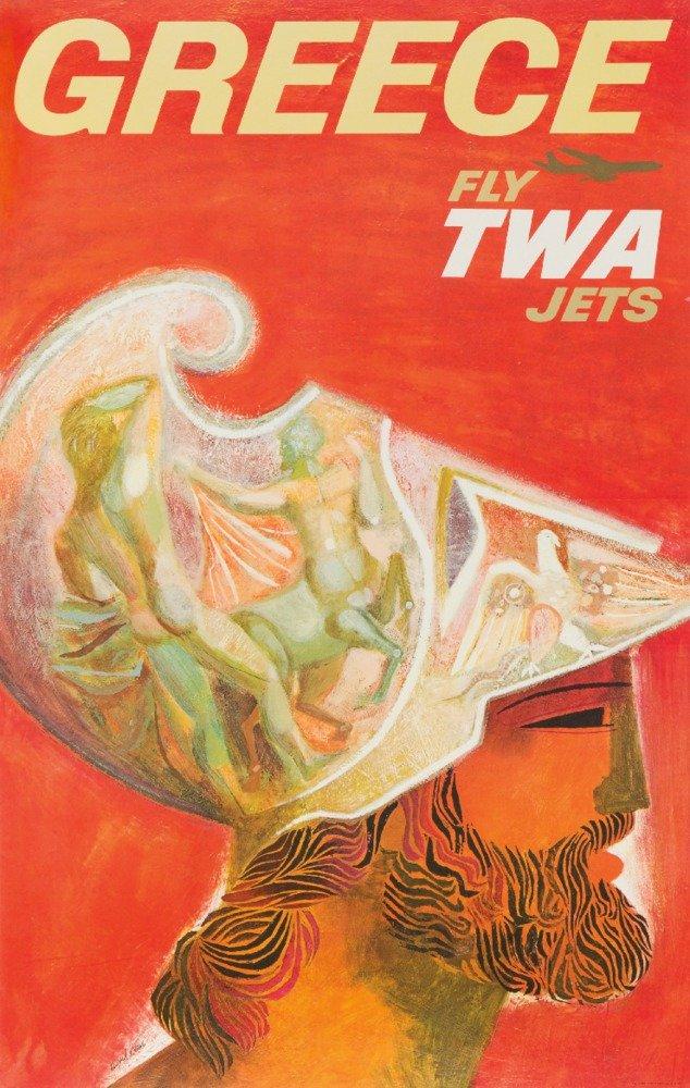Twa – Greece Vintageポスター(アーティスト: David Klein ) C。1955 36 x 54 Giclee Print LANT-64020-36x54 36 x 54 Giclee Print  B01MG3QX7L