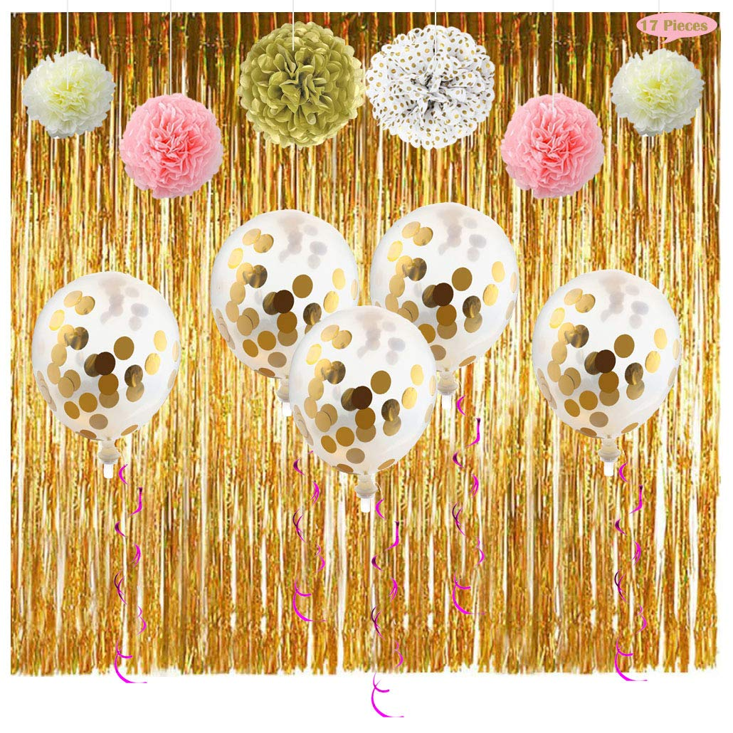 Party Supplies Decoration Kit- Fringe Curtain Foil Swirl Confetti Balloon Pom Poms Flower Decor for 1st Bday Girl Bridal Shower, Decorate for Princess/ Anniversary/ Nursery/ Festive Theme(Pink & Gold)