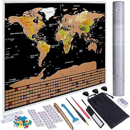 Anpro Mapa del Mundo Raspado en Oro Negro con Bandera,Mapa Mundi Rascar Grande para Pared con 46 Piezas de Accesorios: Amazon.es: Oficina y papelería