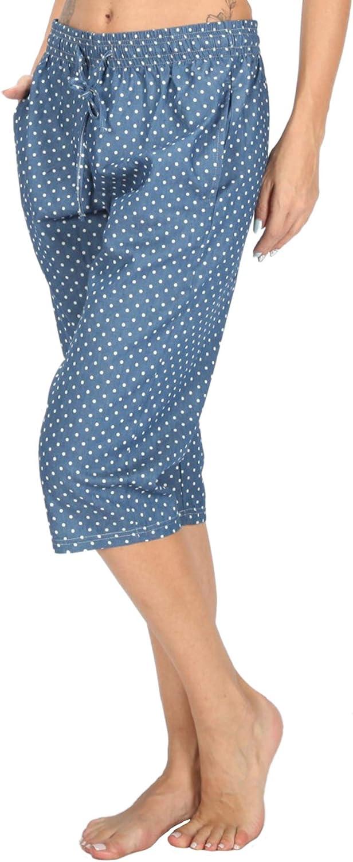 WEWINK CUKOO Damen Pyjamahose Schlafanzughose Baumwolle Nachtw/äsche Schlafanzug Kurz Geschnittene Sportive Farblich KontrastierendeShorts Schlaf Hose mit Taschen